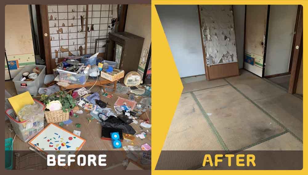 お家がゴミ屋敷状態で、ご不用品(家庭ゴミ、小型家電、棚など)があり、どうしたらいいのか分からず家に近付くこともできなかったというお客様よりご依頼頂きました。
