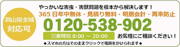 岡山県害虫(害獣)駆除電話お問い合わせ「0120-538-902」