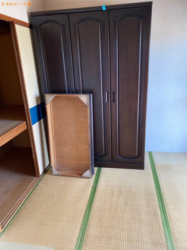 【笠岡市】遺品整理でタンス、簡易ソファー、衣装ケース、学習机等の回収