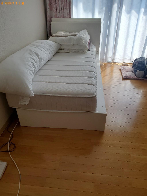 【岡山市北区】マットレス付きシングルベッド、布団の回収・処分